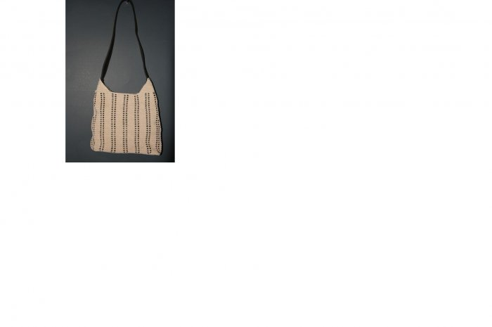 MEDIUM BEIGE PURSE WITH WEAVED LEATHER