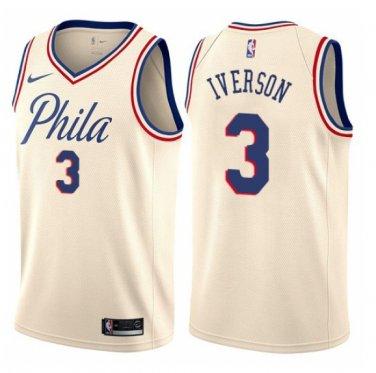 purchase cheap b2196 52539 Men's Philadelphia 76ers #3 Allen Iverson Cream Jersey ...
