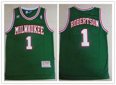 new york f747d 45838 Men's Milwaukee Bucks #1 Oscar Robertson Green Throwback Jersey