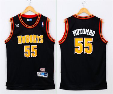 competitive price d89d7 4b4cc Men's Denver Nuggets #55 Dikembe Mutombo Black Throwback Jersey