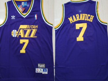 super popular 653f3 15477 Men's Utah Jazz #7 Pete Maravich Purple Throwback Jersey