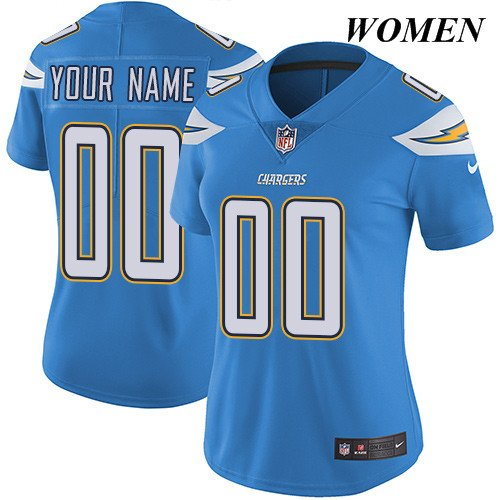 San Diego Chargers Custom Jersey: WOMEN's San Diego Chargers Customized Blue Stitched