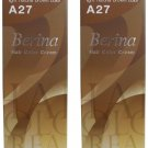 X2 Berina A27 Light Natural Brown Permanent Bronde Hair Dye Color Brunette Emo