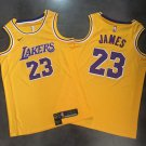 Los Angeles Lakers 23# LeBron James Yellow Jersey Fine Embroidery