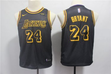 super popular 3a4b1 f4b2a Youth Los Angeles Lakers #24 Kobe Bryant Black Jersey New