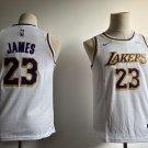 Youth Lakers #23 Lebron James Basketball Jesey WHITE