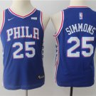 Youth 76ers #25 Ben Simmons Blue Basketball Jersey