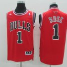 Men's Chicago Bulls #1 Derrick Rose Red Throwback Jersey