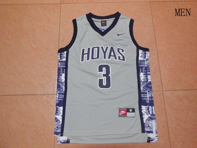 Men's NEW Georgetown Hoyas 3 Allen Iverson Gray Jersey