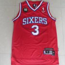 Men's 76ers #3 Allen Iverson Basketball Stitched Jersey Red
