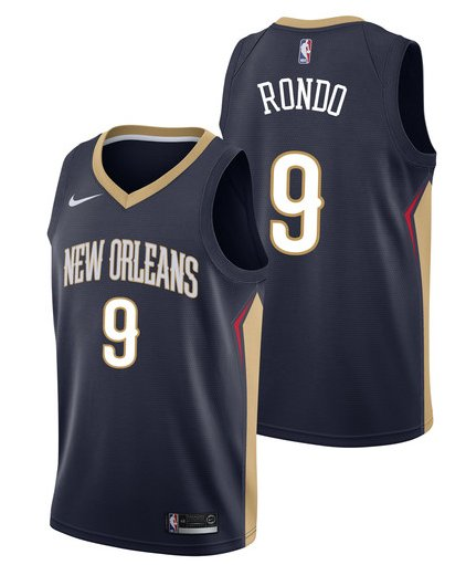 Men's New Orleans Pelicans #9 Rajon Rondo Basketball Jersey Black