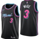 Men's Miami Heat #3 Authentic Wade Basketball Jersey Black