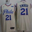 Men's Philadelphia 76ers #21 Joel Embiid Basketball Jersey Beige