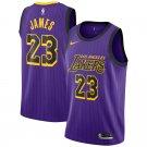 Men's Lakers 23 LeBron James Basketball Jersey Purple Stripe City Edition