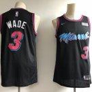 Men's Miami Heat #3 Authentic Wade Basketball Jersey Black New