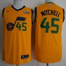 Men's Utah Jazz #45 Donovan Mitchell Basketball Jersey Yellow
