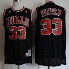 Men's Chicago Bulls 33 Scottie Pippen Basketball Jersey Black Throwback