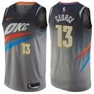 Men's Oklahoma City Thunder #13 Paul George Basketball Jersey Gray