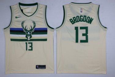 new arrival fe06a a2e40 Men's Milwaukee Bucks #13 Malcolm Brogdon Jersey Off White