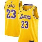 Men's Lakers #23 LeBron James Basketball Jersey Yellow City Edition