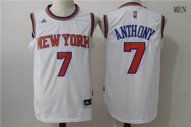 premium selection ea93a ed580 Men's New York Knicks #7 Carmelo Anthony Basketball Jersey White