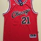 Men's Chicago Bulls 21# Jimmy Butler Basketball Jersey Red Throwback