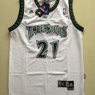 Men's Timberwolves #21 Kevin Garnett Basketball Jersey White Throwback