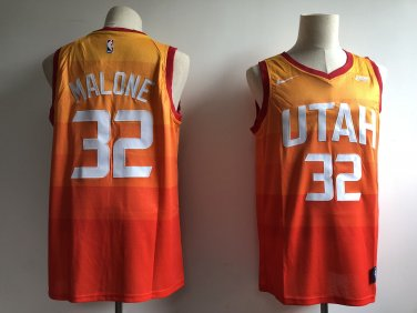 purchase cheap d3937 c23e5 Men's Utah Jazz 32# Karl Malone Basketball Jersey Orange New
