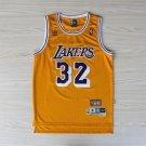Men's Lakers 32# Magic Johnson Basketball Jersey Yellow Throwback