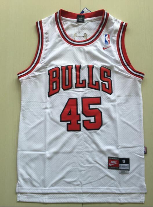 7389a95b2a7 Men's Chicago Bulls 45# Michael Jordan White Basketball Jersey