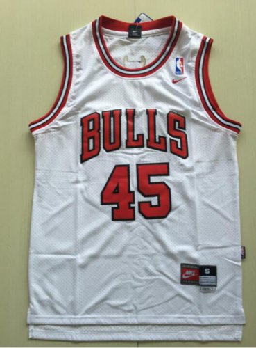 wholesale dealer 61802 8c40e Men's Chicago Bulls 45# Michael Jordan White Basketball Jersey
