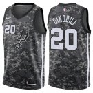 Men's San Antonio Spurs #20 Manu Ginobili Black Jersey Camouflage