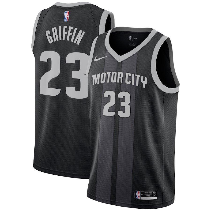 2018/19 Men's Pistons #23 Blake Griffin Jersey Black Stripe City Edition
