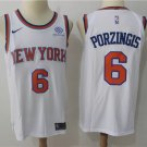 Youth New York Knicks #6 Kristaps Porzingis Basketball White Jersey