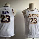Youth Lakers #23 LeBron James Basketball Jersey White new