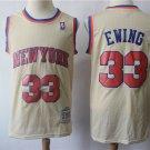 Men's New York Knicks #33 Patrick Ewing Jersey Light Beige Throwback