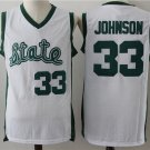 Men's Michigan State #33 Earvin Johnson White College Basketball Jersey