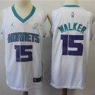 Men's Charlotte Hornets #15 Kemba Walker Basketball Jersey White Stripe 2019