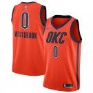 Men's Thunder #0 Russell Westbrook Basketball Jersey Orange City Edition 2019