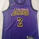 Men's Los Angeles Lakers #2 Lonzo Ball Jersey Purple Stripe 2019 New
