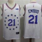 Men's Philadelphia 76ers #21 Joel Embiid Basketball Jersey White Earned Edition