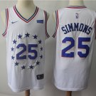 Men's 76ers #25 Ben Simmons Basketball Jersey White Earned Edition