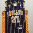 Men's Indiana Peacers #31 Reggie Miller Stripe Jersey Navy Blue Throwback
