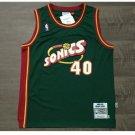 Mens Supersonics #40 Shawn Kemp Green Basketball Jersey