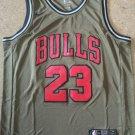 Men's Chicago Bulls #23 Michael Jordan Basketball Jersey army green 2019