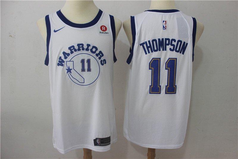Men's Golden State Warriors #11 Klay Thompson Basketball Jersey White sleeve