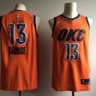 Men's OKC Thunder #13 Paul George Basketball Jersey Orange City Edition
