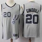 Men's San Antonio Spurs #20 Manu Ginobili Basketball Jersey Gray