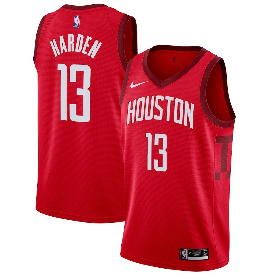 Men's Houston Rockets 13 James Harden Basketball Jersey Red Earned Edition 2019
