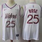 Men's Timberwolves #25 Derrick Rose Jersey White Earned Edition New